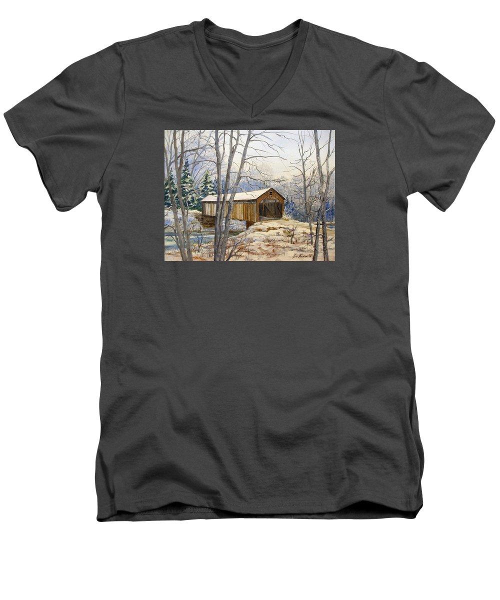 Oil Painting;bridge;covered Bridge;winter Scene;snow;landscape;winter Landscape; Men's V-Neck T-Shirt featuring the painting Teegarden Covered Bridge In Winter by Lois Mountz