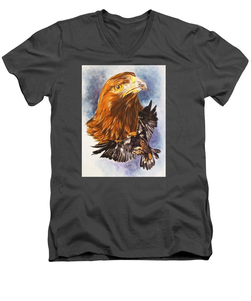 Eagle Men's V-Neck T-Shirt featuring the mixed media Tenacity by Barbara Keith