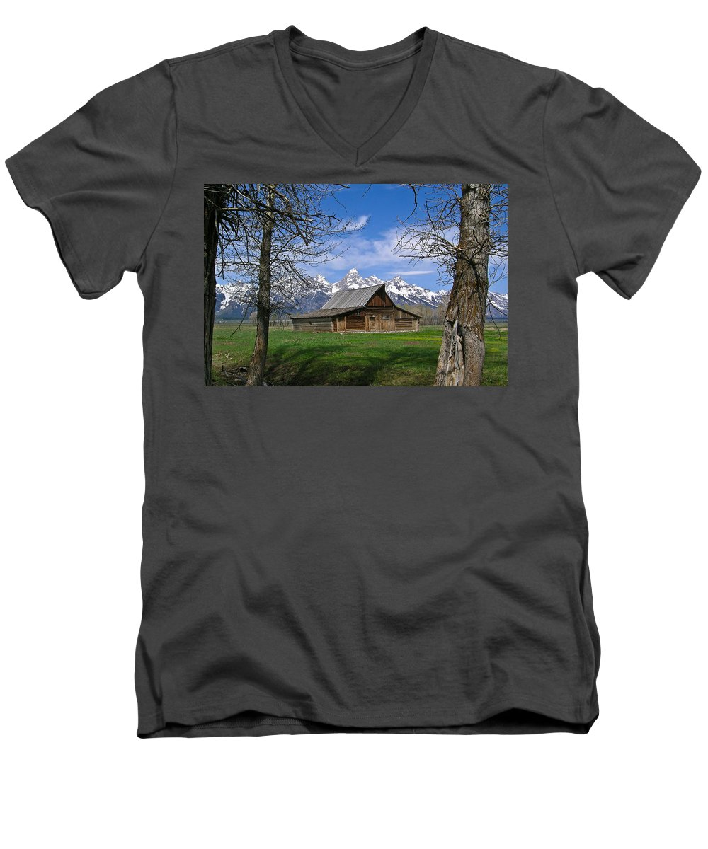 Teton Men's V-Neck T-Shirt featuring the photograph Teton Barn by Douglas Barnett