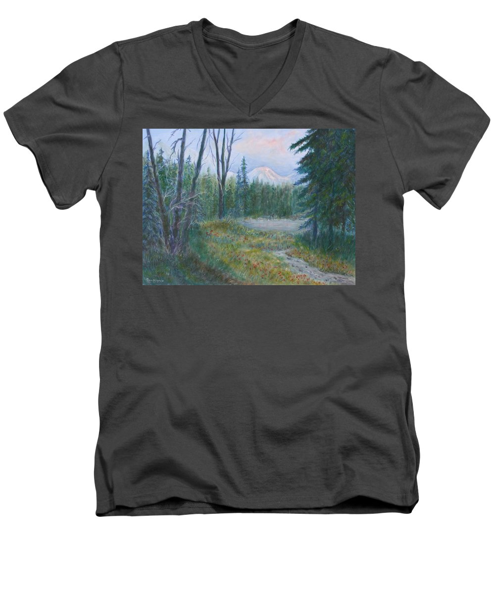 Landscape Men's V-Neck T-Shirt featuring the painting Teton Valley by Ben Kiger