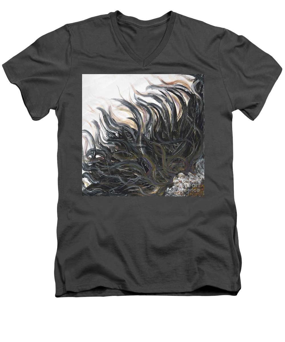 Texture Men's V-Neck T-Shirt featuring the painting Textured Black Sunflower by Nadine Rippelmeyer
