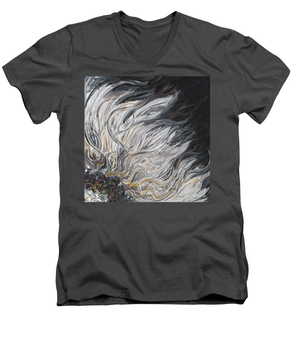 White Men's V-Neck T-Shirt featuring the painting Textured White Sunflower by Nadine Rippelmeyer