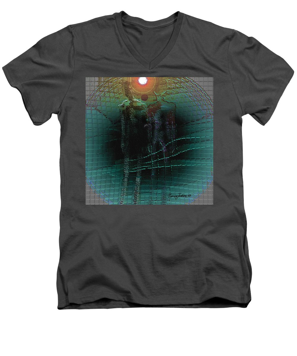People Alien Arrival Visitors Men's V-Neck T-Shirt featuring the digital art The Arrival by Veronica Jackson