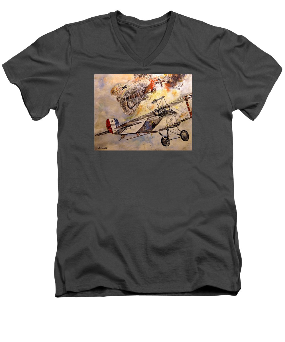 Military Men's V-Neck T-Shirt featuring the painting The Balloon Buster by Marc Stewart