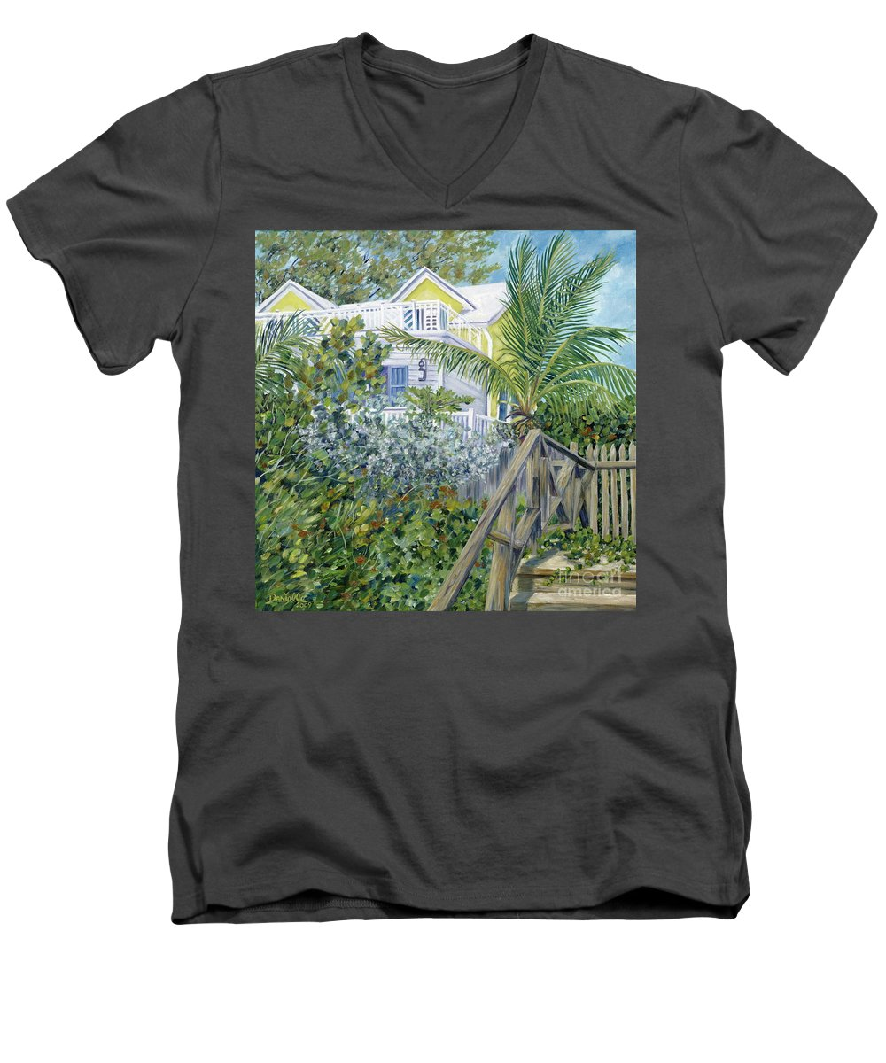 Beach House Men's V-Neck T-Shirt featuring the painting The Beach House by Danielle Perry