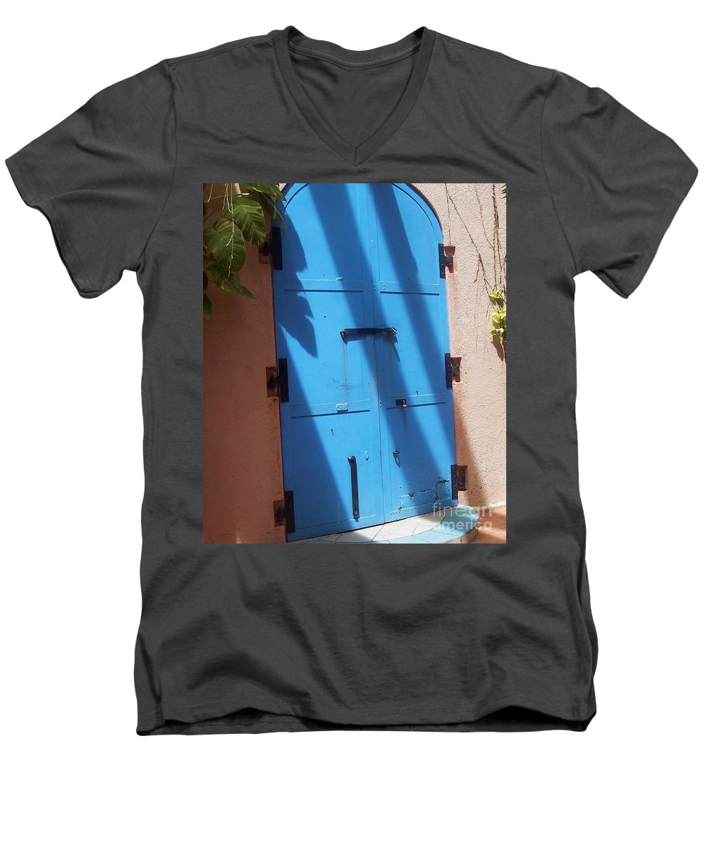 Architecture Men's V-Neck T-Shirt featuring the photograph The Blue Door by Debbi Granruth
