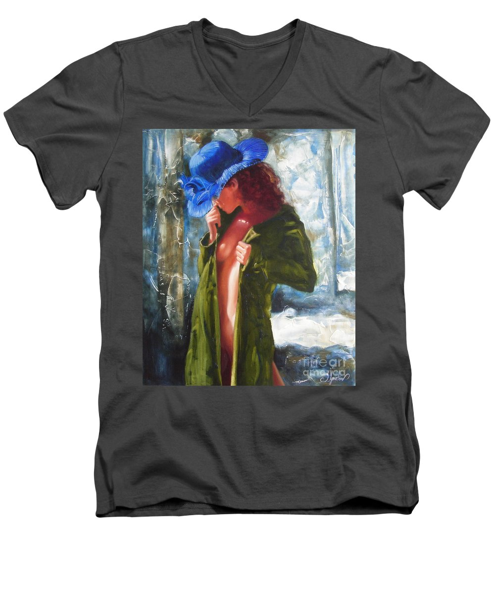 Art Men's V-Neck T-Shirt featuring the painting The Blue Hat by Sergey Ignatenko