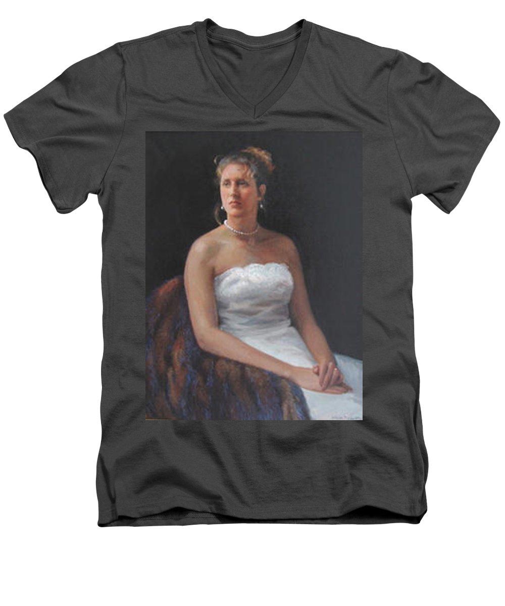 Formal Portrait Men's V-Neck T-Shirt featuring the painting The Bride by Dianne Panarelli Miller