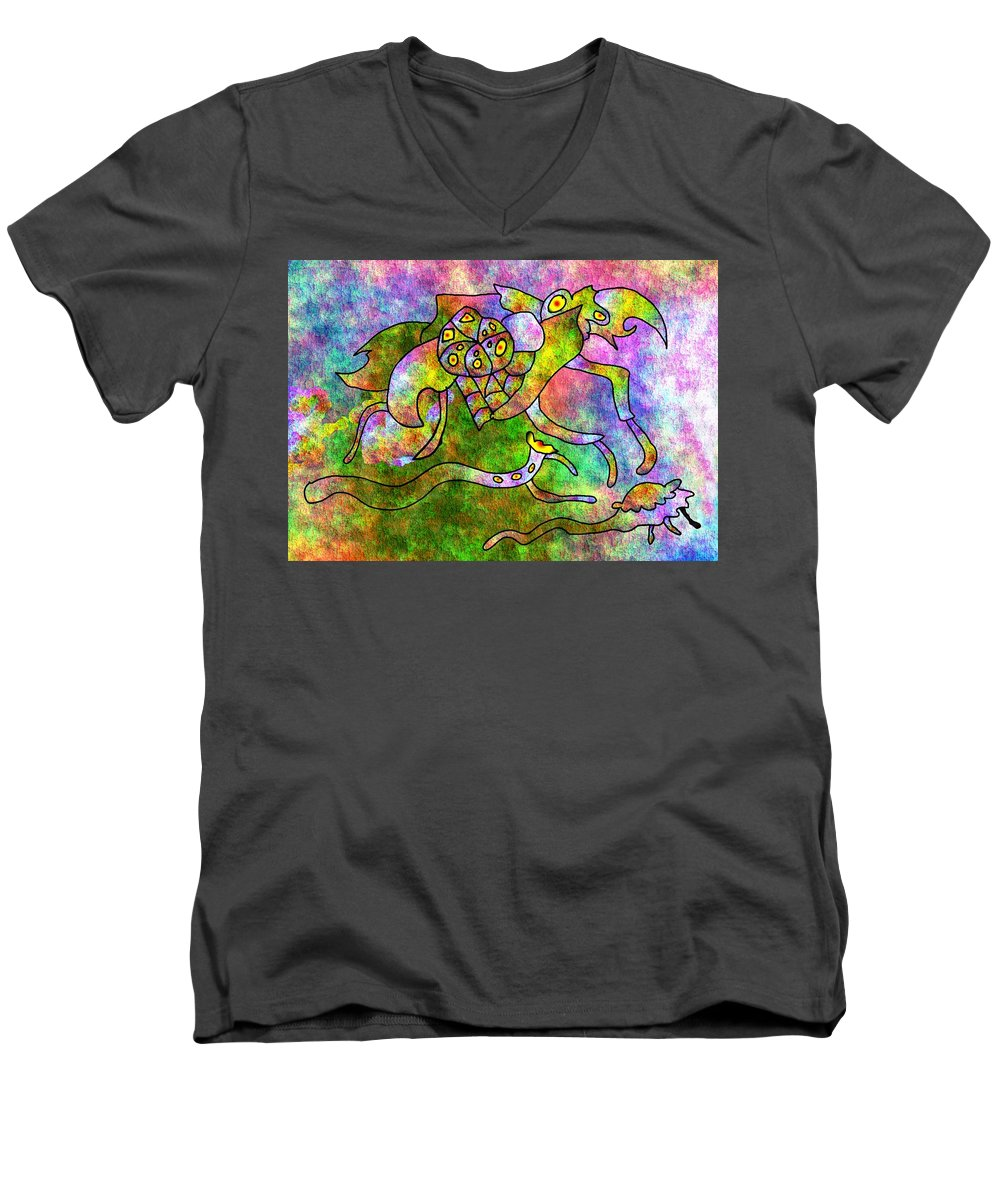 Bugs Color Texture Abstract Fun Men's V-Neck T-Shirt featuring the digital art The Bugs by Veronica Jackson