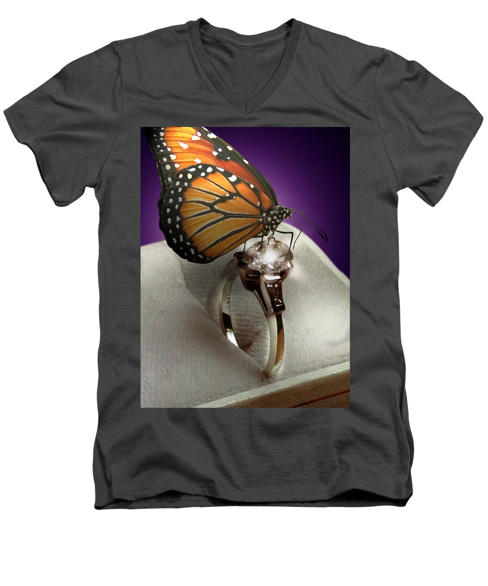 Fantasy Men's V-Neck T-Shirt featuring the photograph The Butterfly And The Engagement Ring by Yuri Lev