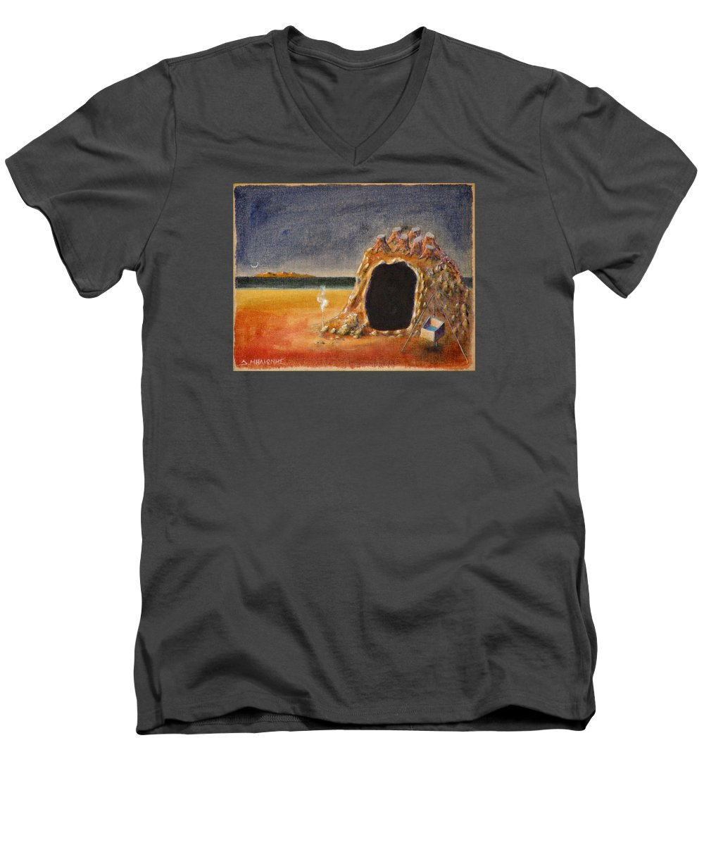 Metaphysacal Men's V-Neck T-Shirt featuring the painting The Cave Of Orpheas by Dimitris Milionis