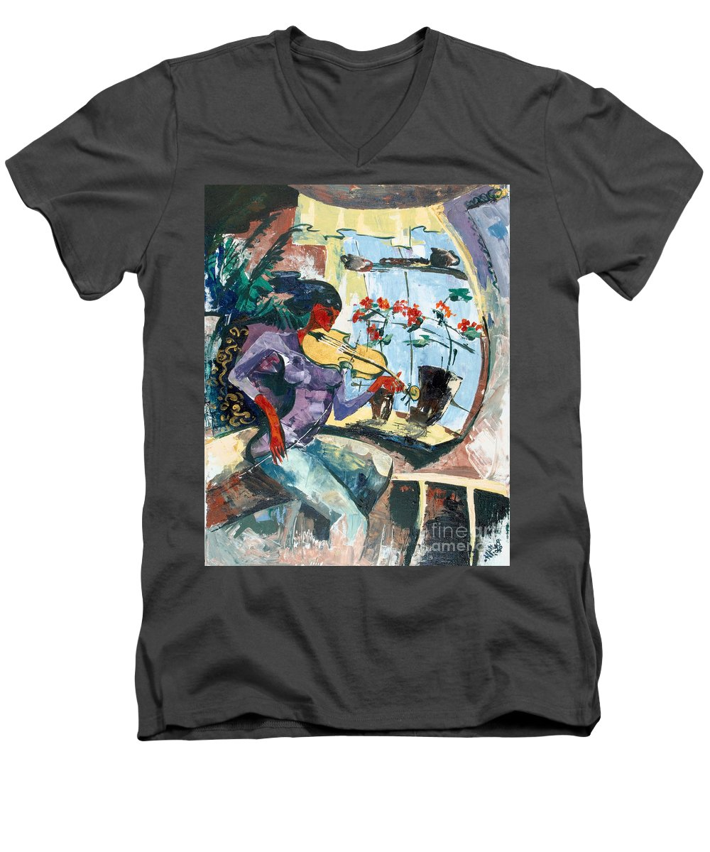 Music Men's V-Neck T-Shirt featuring the painting The Color Of Music by Elisabeta Hermann
