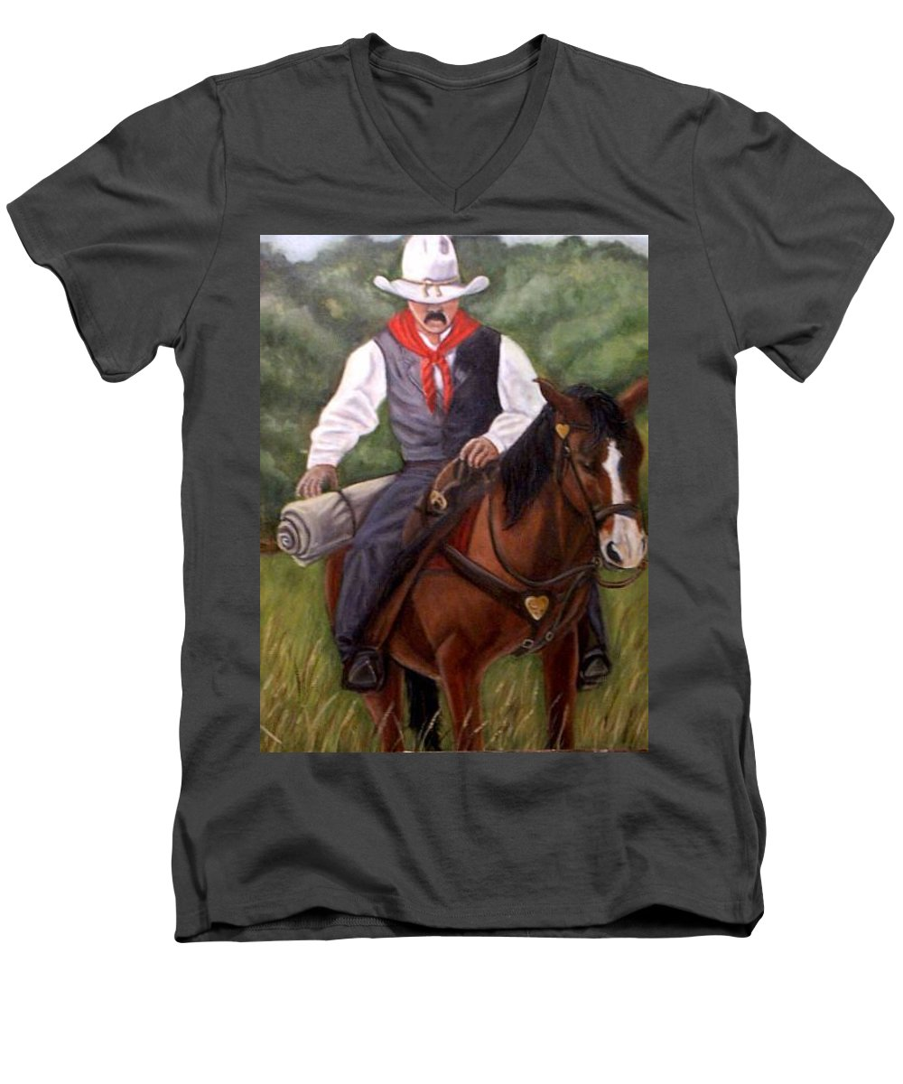 Portrait Men's V-Neck T-Shirt featuring the painting The Cowboy by Toni Berry