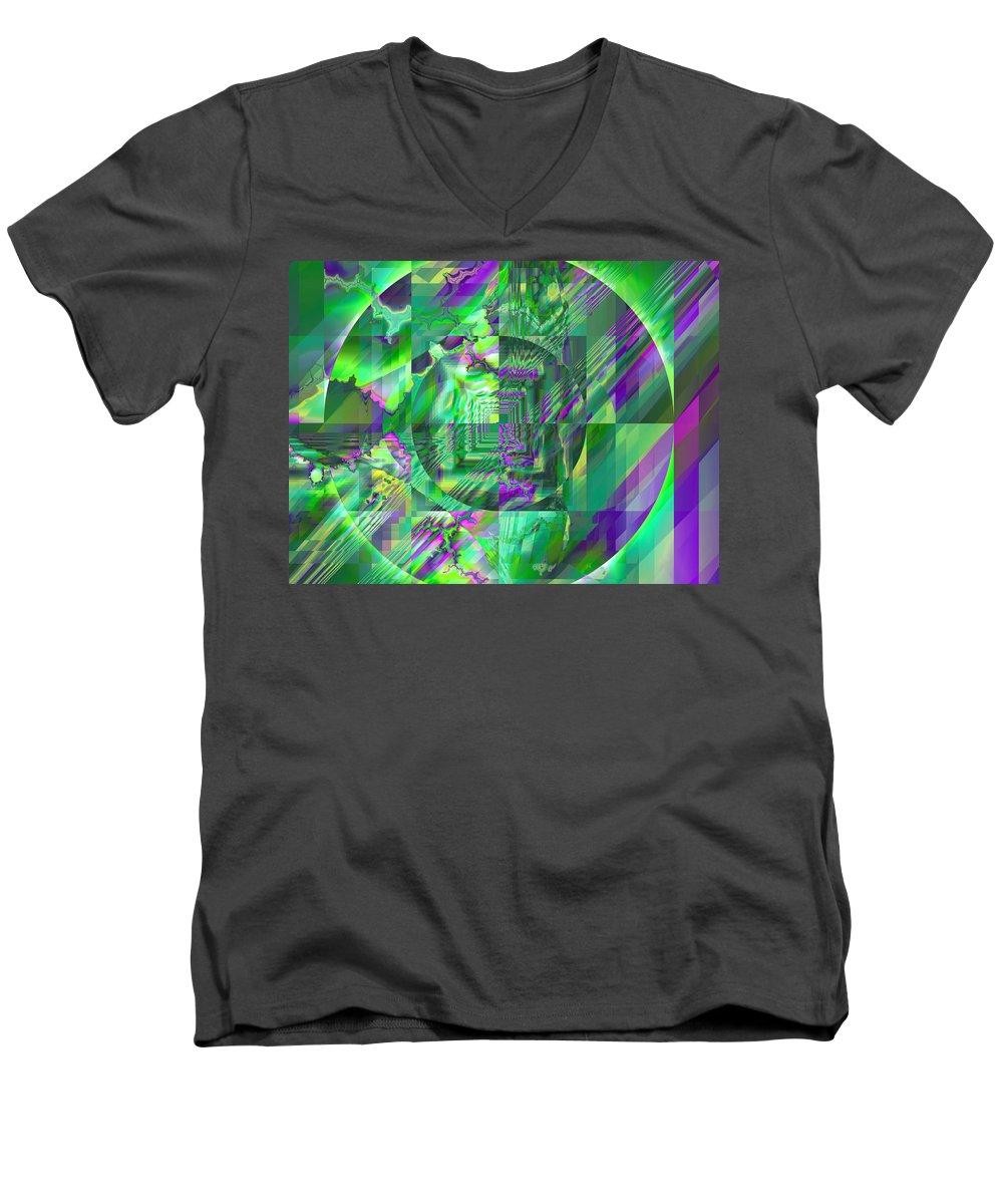 Fractal Men's V-Neck T-Shirt featuring the digital art The Crazy Fractal by Frederic Durville