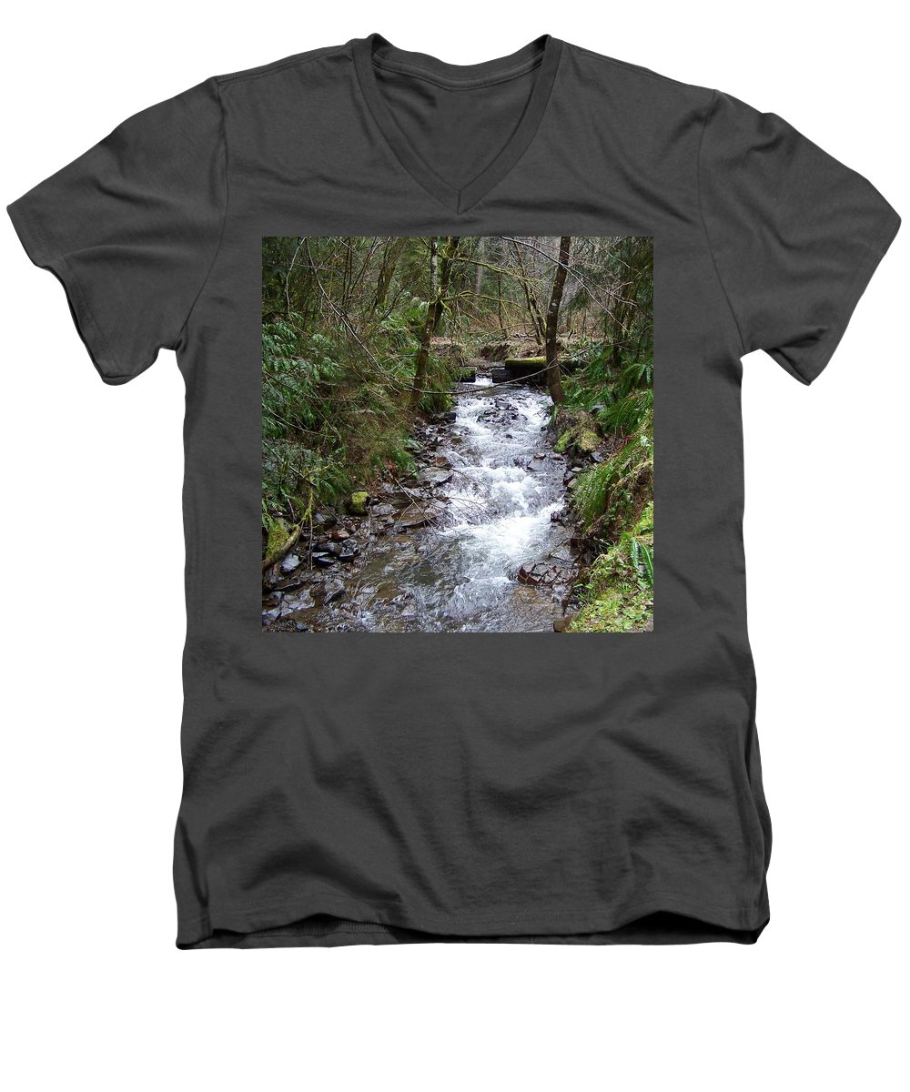 Digital Photography Men's V-Neck T-Shirt featuring the photograph The Creek by Laurie Kidd