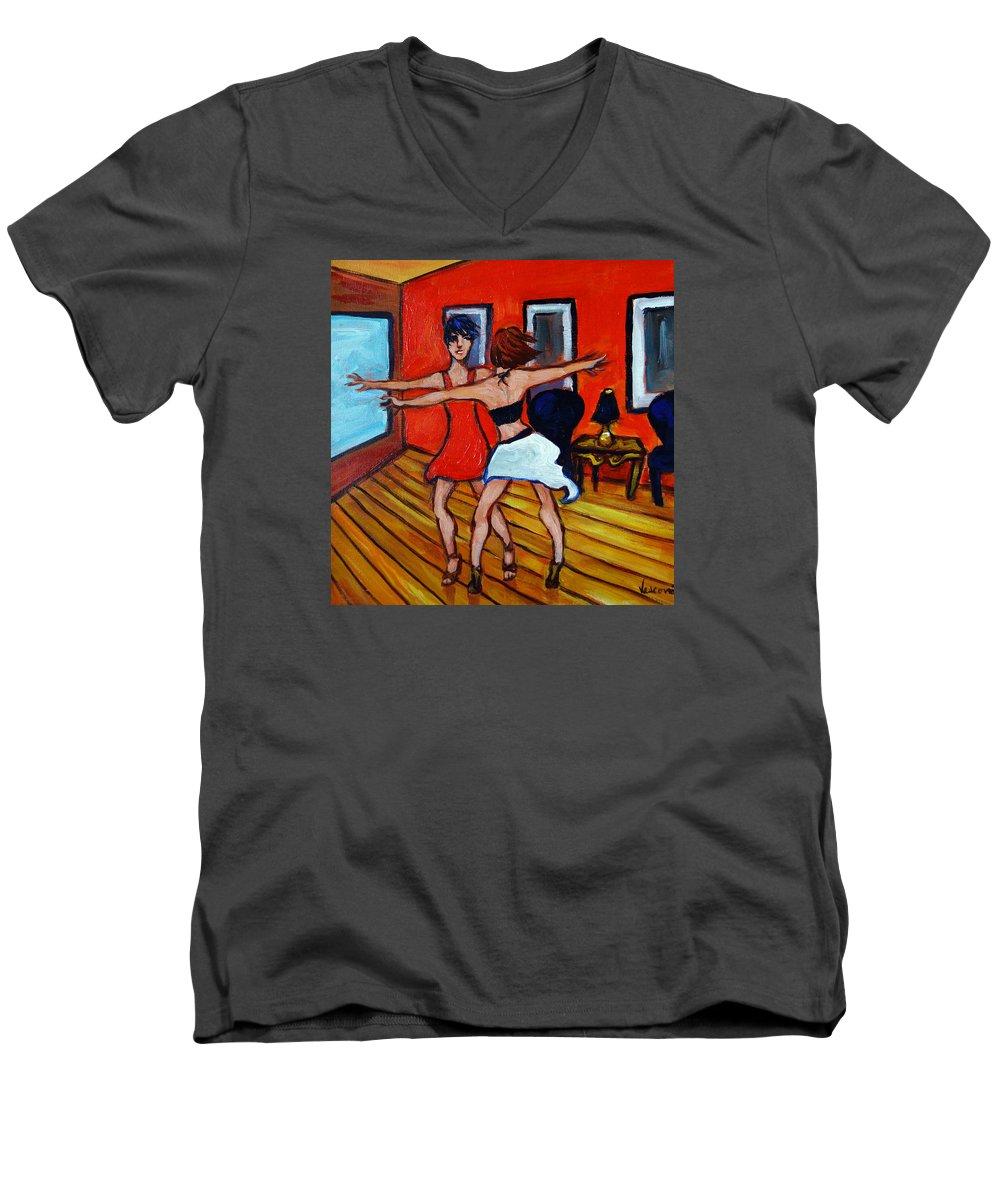Dancers Men's V-Neck T-Shirt featuring the painting The Dancers by Valerie Vescovi