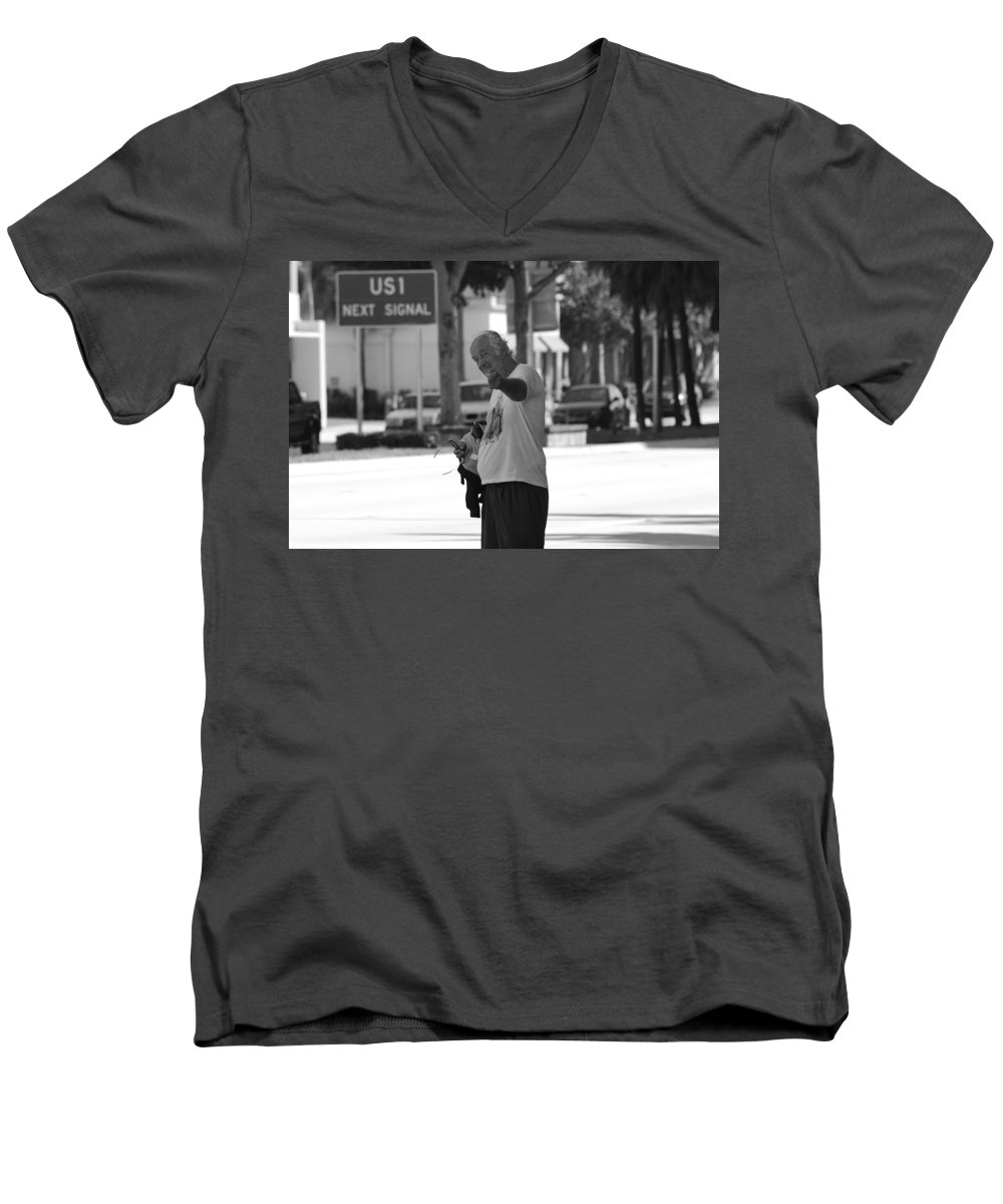 Black And White Men's V-Neck T-Shirt featuring the photograph The Devil Man by Rob Hans