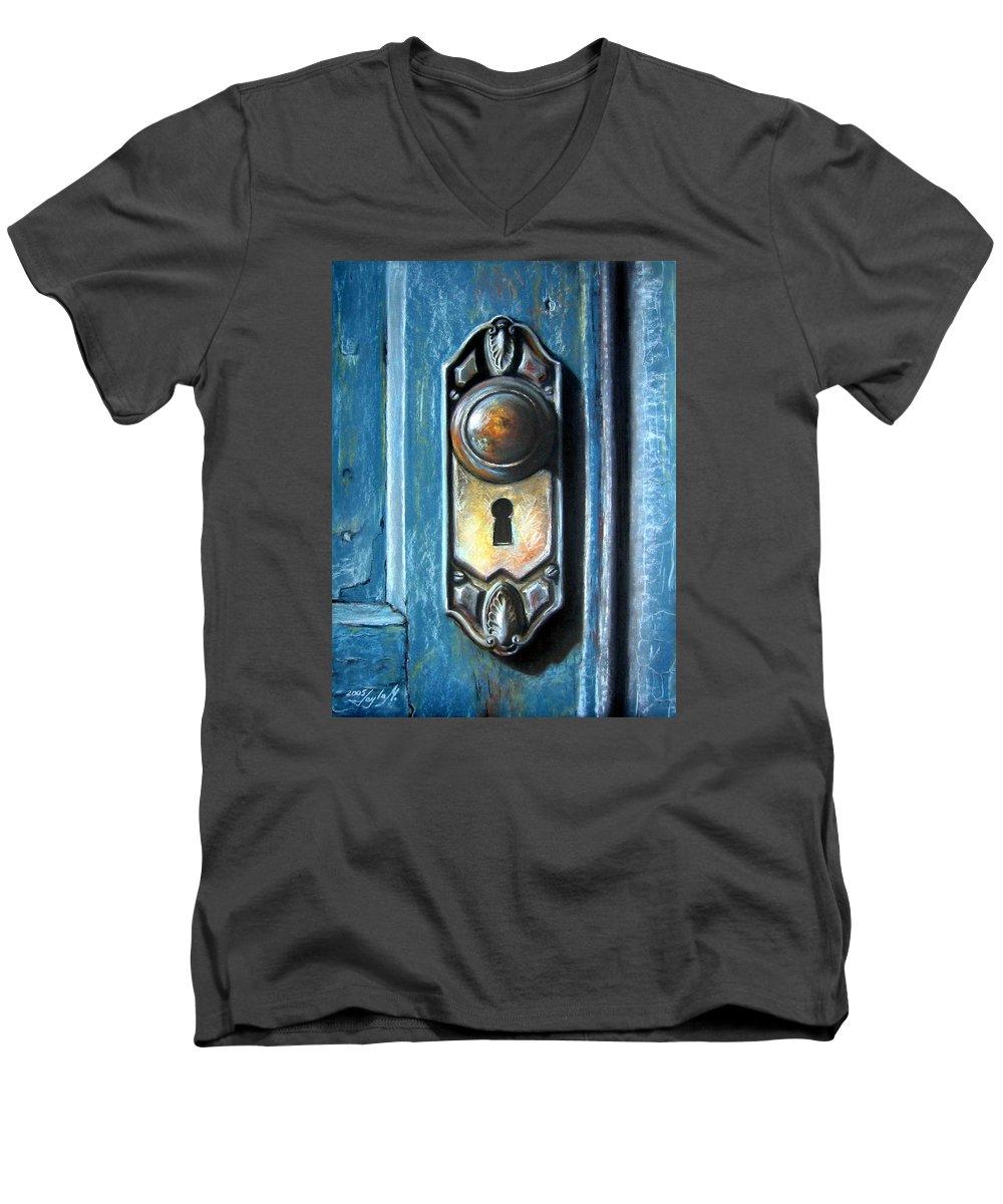 Door Knob Men's V-Neck T-Shirt featuring the painting The Door Knob by Leyla Munteanu