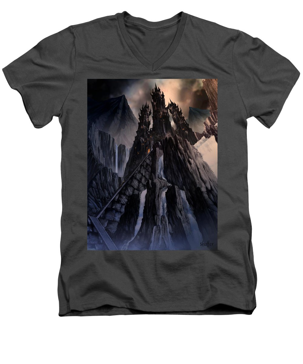 Architectural Men's V-Neck T-Shirt featuring the mixed media The Dragon Gate by Curtiss Shaffer