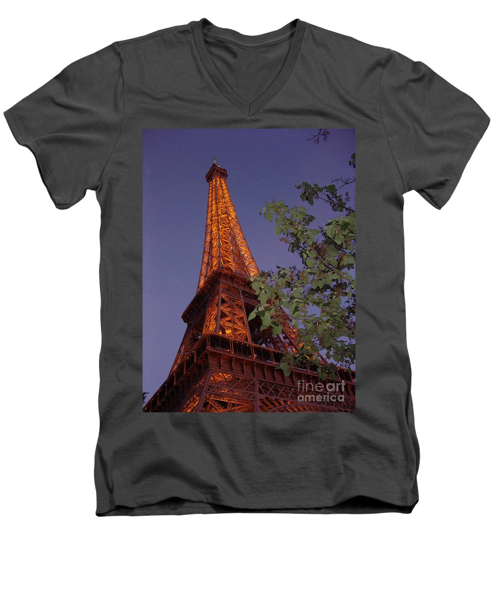 Tower Men's V-Neck T-Shirt featuring the photograph The Eiffel Tower Aglow by Nadine Rippelmeyer