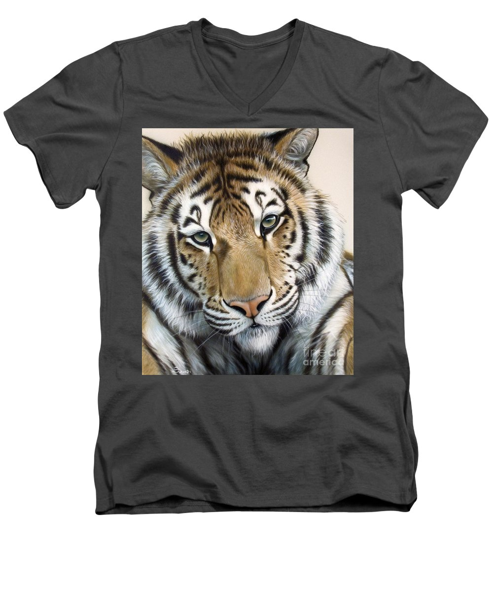 Acrylic Men's V-Neck T-Shirt featuring the painting The Embrace by Sandi Baker