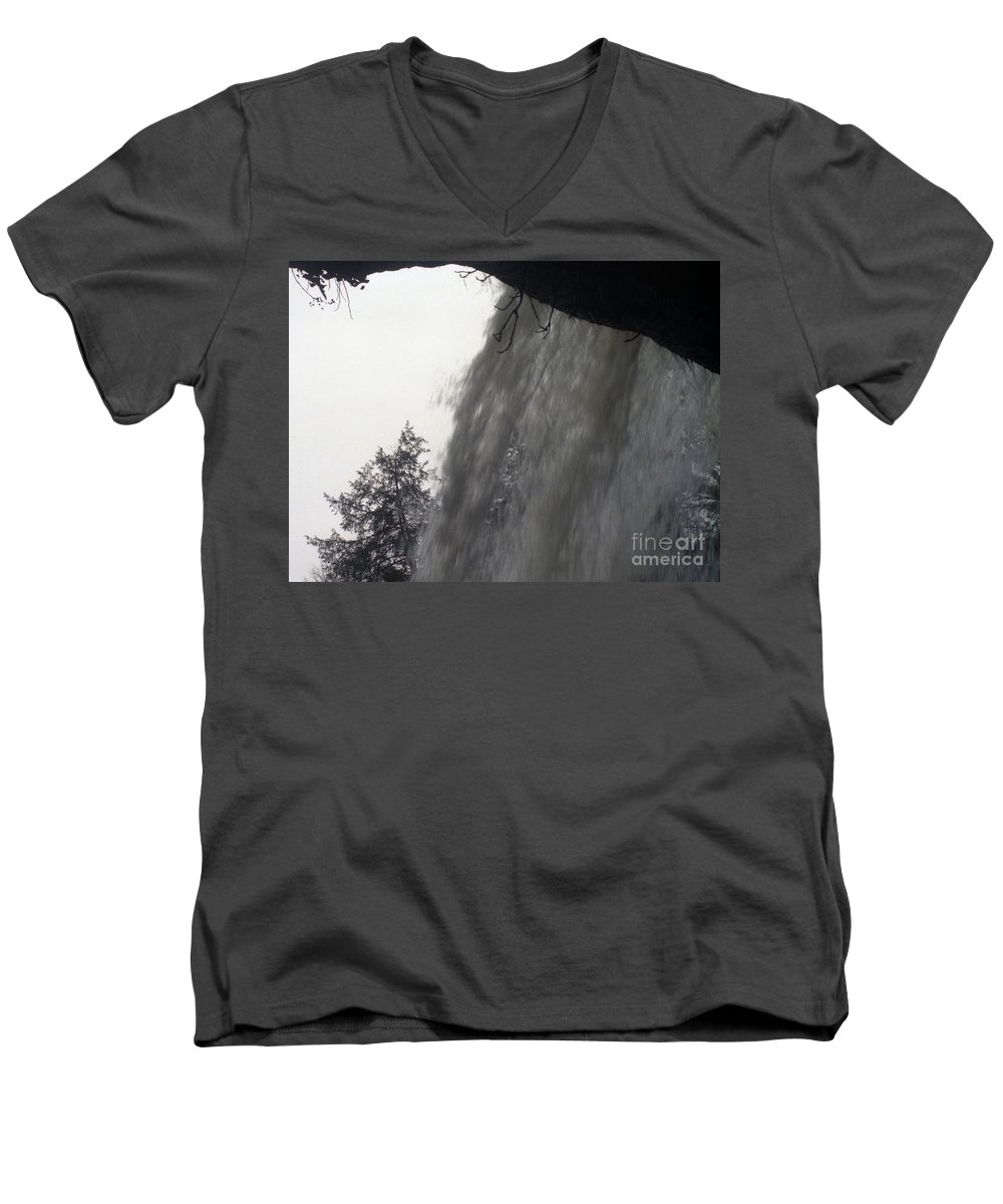 Waterfalls Men's V-Neck T-Shirt featuring the photograph The Falls by Richard Rizzo