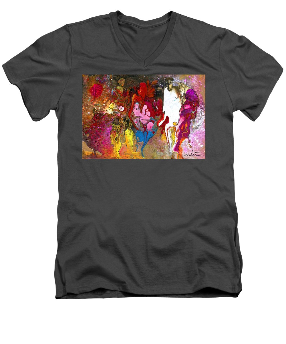 Miki Men's V-Neck T-Shirt featuring the painting The First Wedding by Miki De Goodaboom
