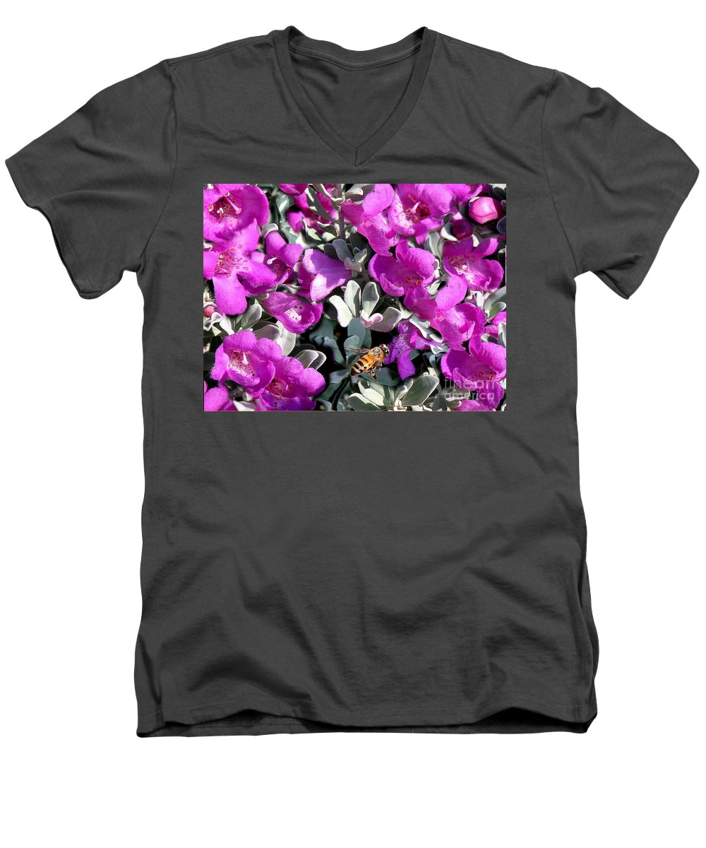 Nature Men's V-Neck T-Shirt featuring the photograph The Flight Of The Bumble Bee by Lucyna A M Green