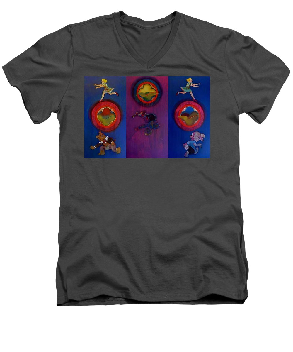 The Drums Of The Fruit Machine Stop At Random. Triptych Men's V-Neck T-Shirt featuring the painting The Fruit Machine Stops II by Charles Stuart