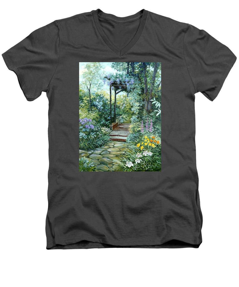 Oil Painting;wisteria;garden Path;lilies;garden;flowers;trellis;trees;stones;pergola;vines; Men's V-Neck T-Shirt featuring the painting The Garden Triptych Right Side by Lois Mountz