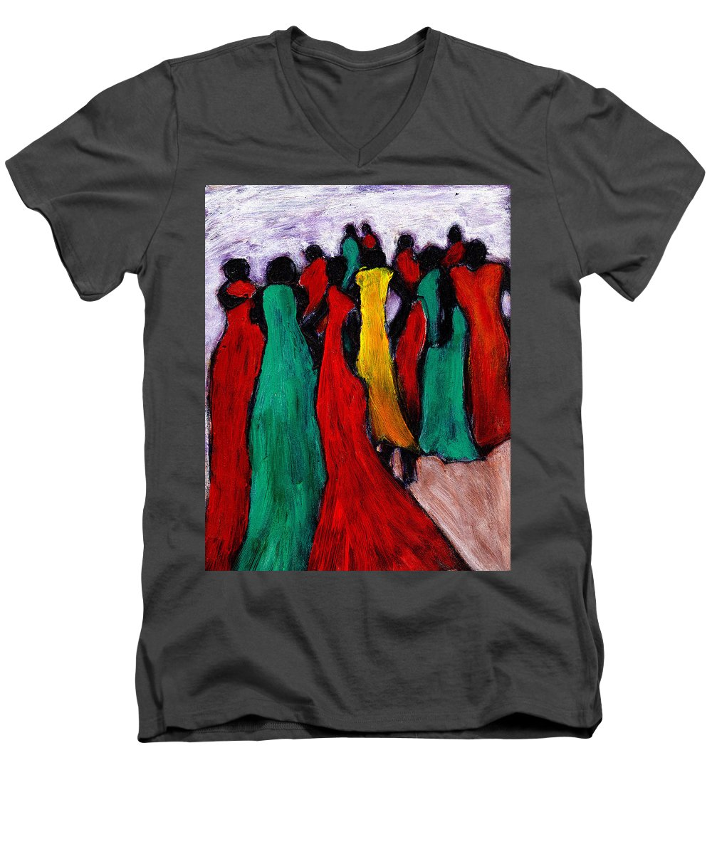 Black Art Men's V-Neck T-Shirt featuring the painting The Gathering by Wayne Potrafka