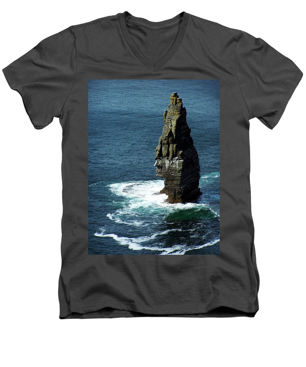 Irish Men's V-Neck T-Shirt featuring the photograph The Great Sea Stack Brananmore Cliffs Of Moher Ireland by Teresa Mucha