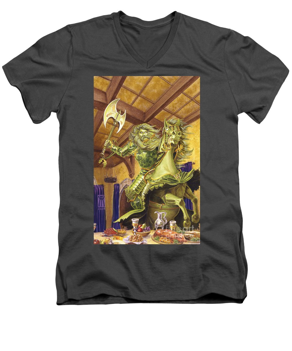 Fine Art Men's V-Neck T-Shirt featuring the painting The Green Knight by Melissa A Benson