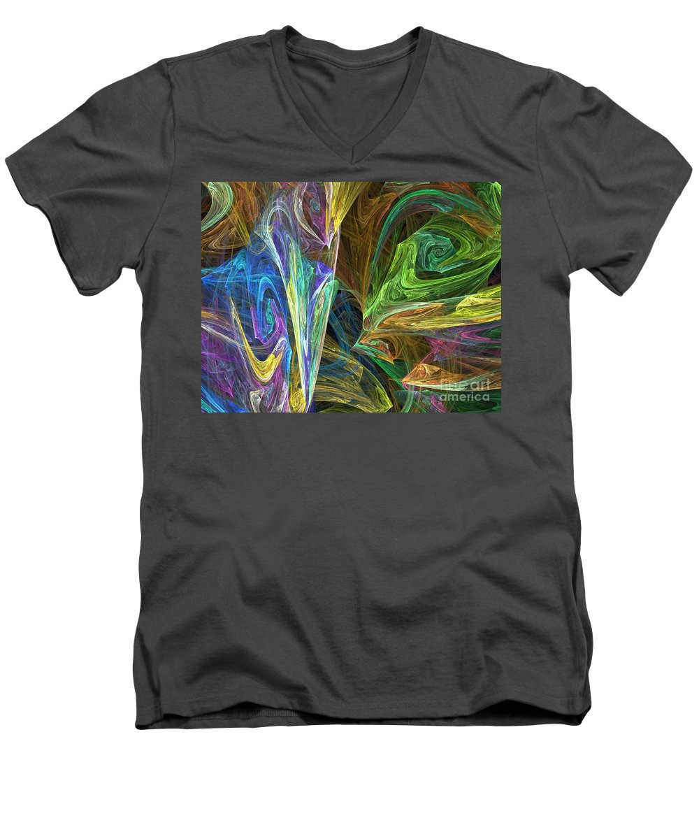 Fractals Men's V-Neck T-Shirt featuring the digital art The Groove by Richard Rizzo