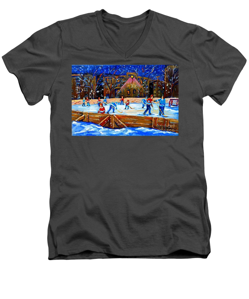 Snow Men's V-Neck T-Shirt featuring the painting The Hockey Rink by Carole Spandau