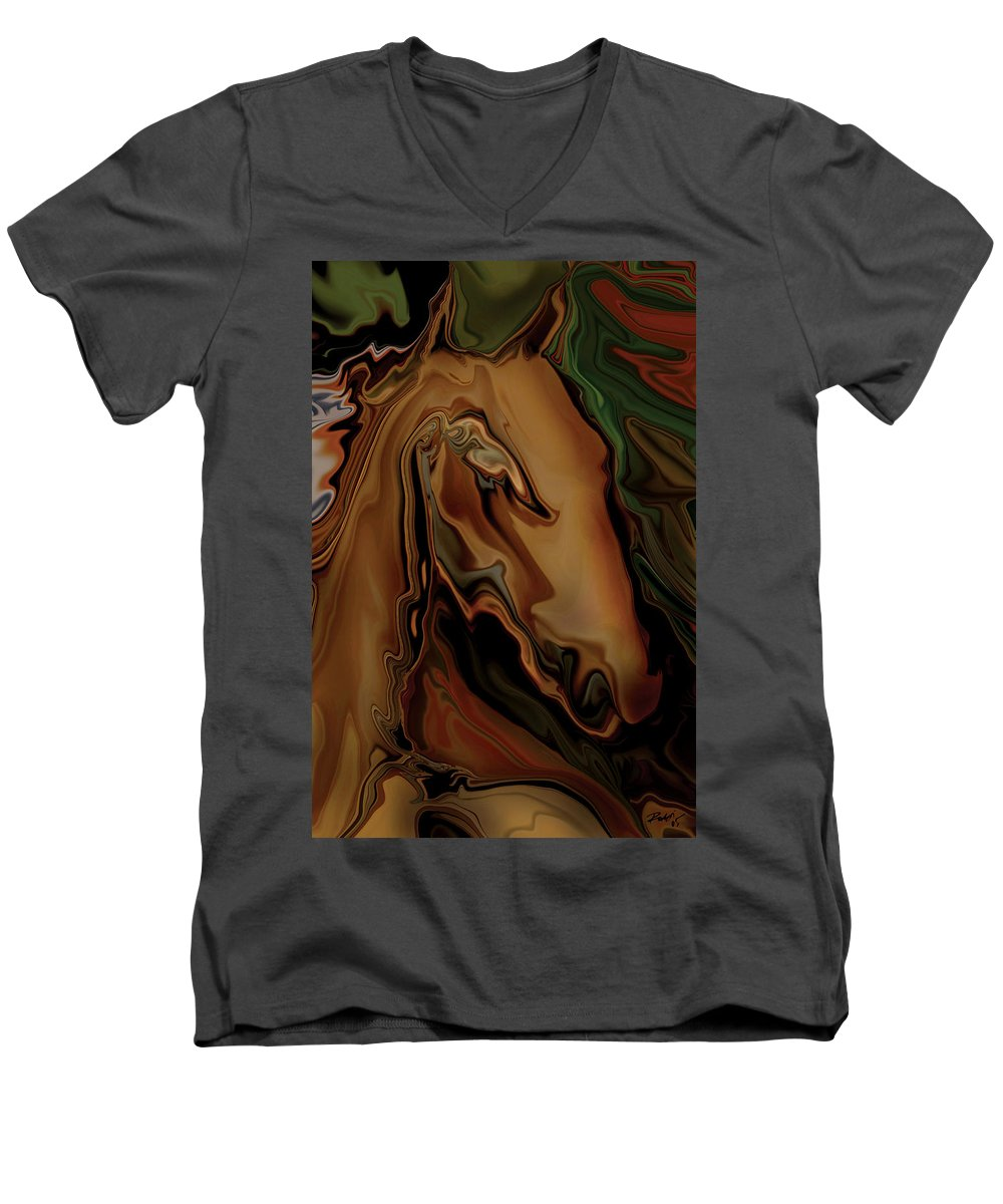 Animal Men's V-Neck T-Shirt featuring the digital art The Horse by Rabi Khan