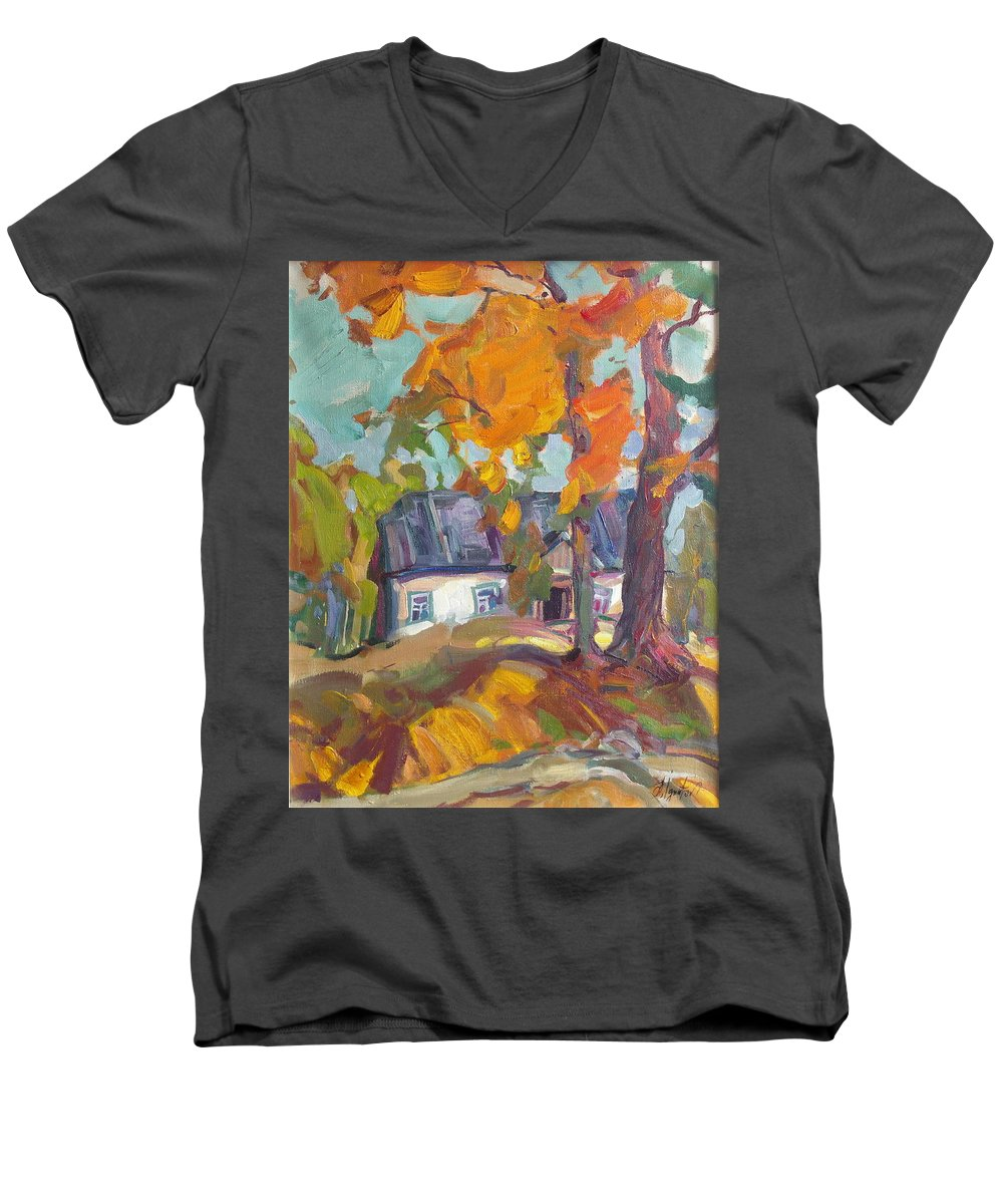 Oil Men's V-Neck T-Shirt featuring the painting The House In Chervonka Village by Sergey Ignatenko