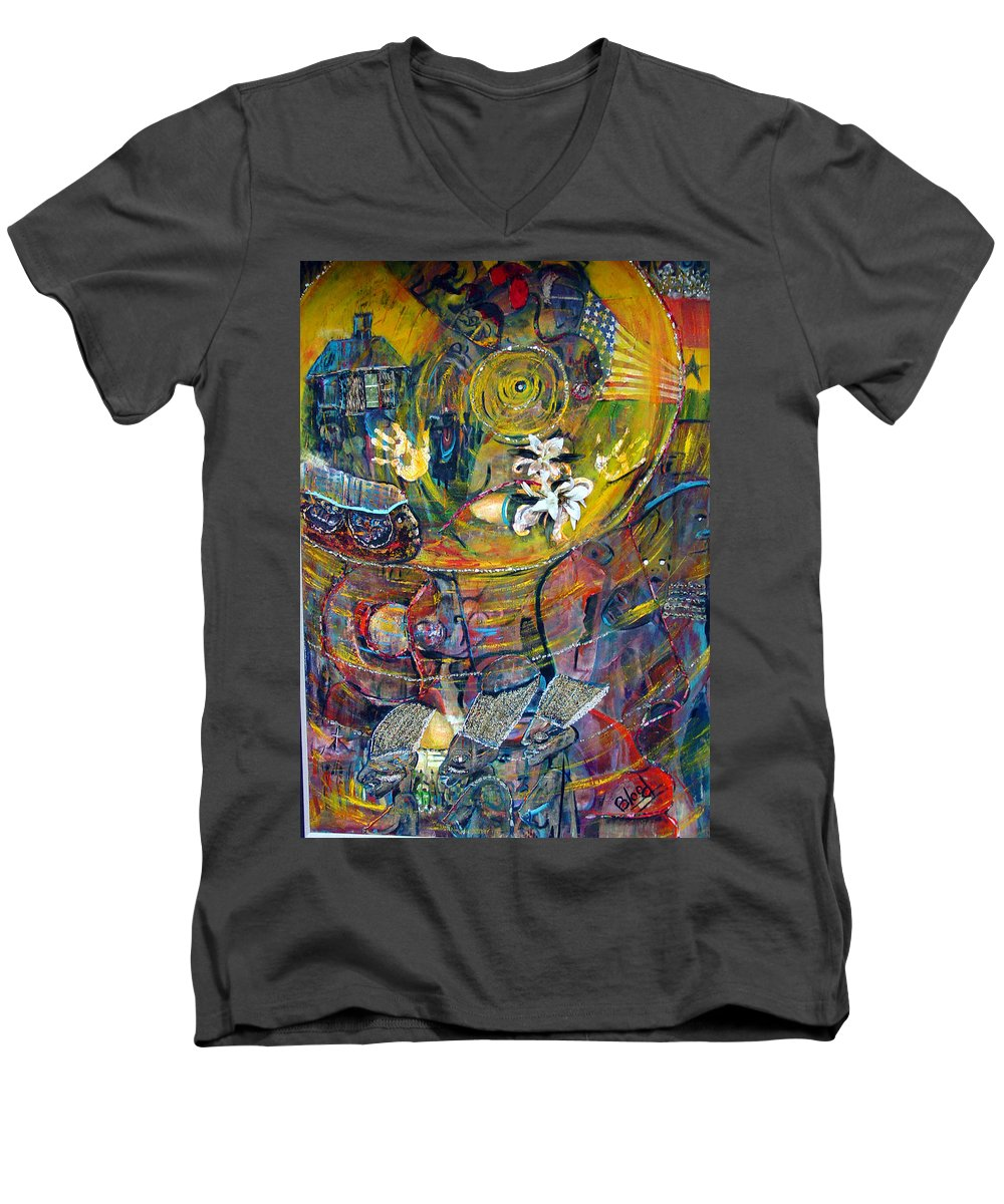 Figures Men's V-Neck T-Shirt featuring the painting The Journey by Peggy Blood