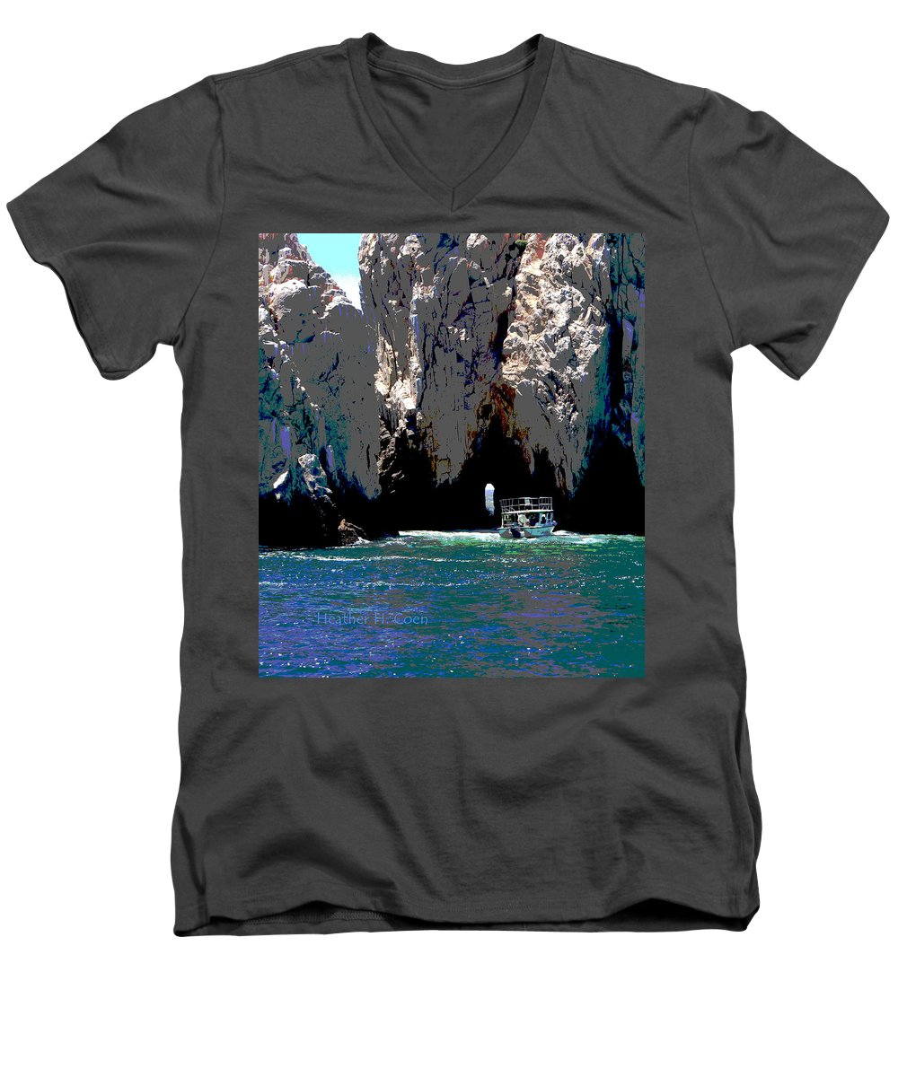 Mexico Men's V-Neck T-Shirt featuring the photograph The Keyhole Mexico Cabo San Lucas by Heather Coen
