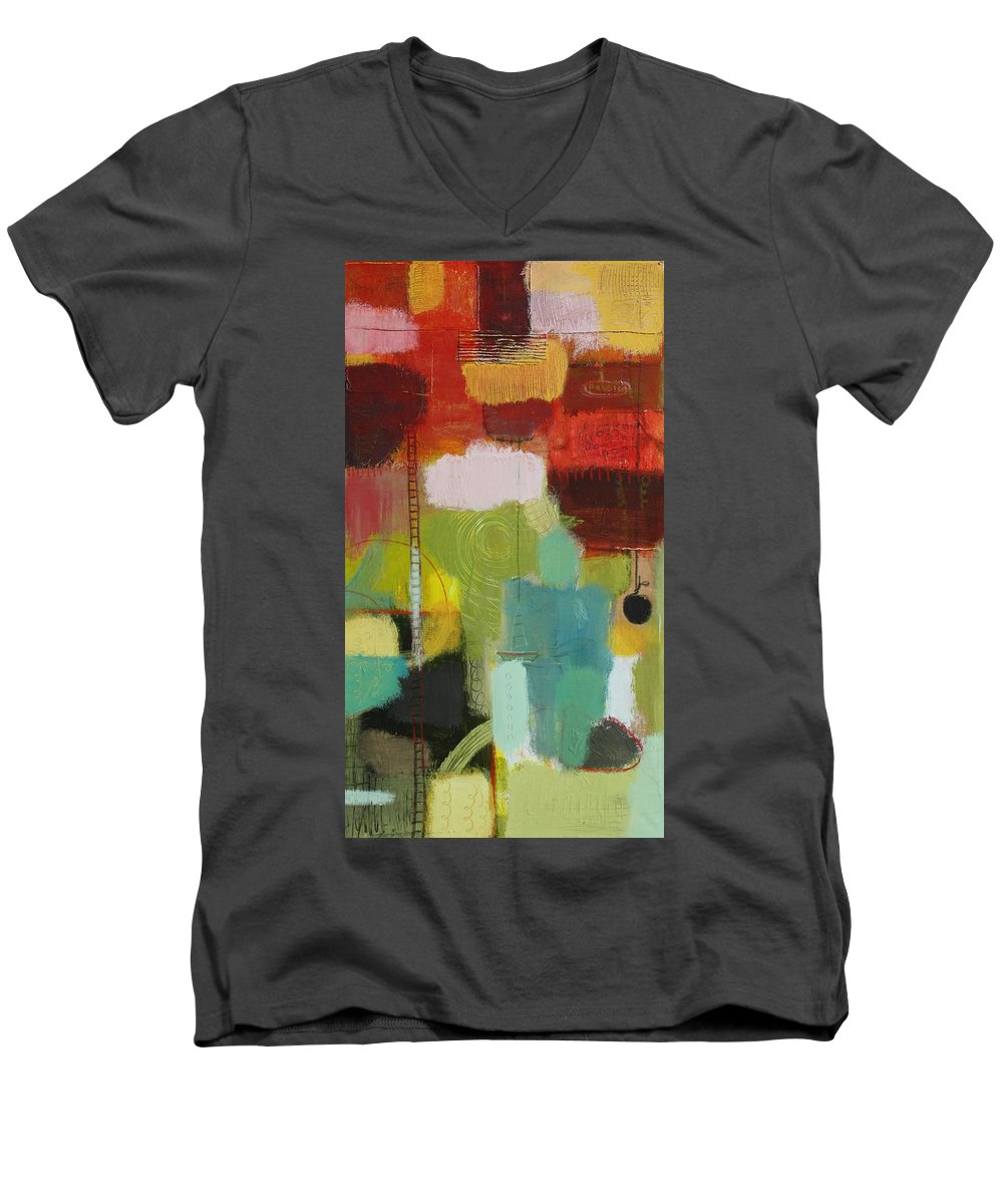 Abstract Men's V-Neck T-Shirt featuring the painting The Ladder Of Life by Habib Ayat