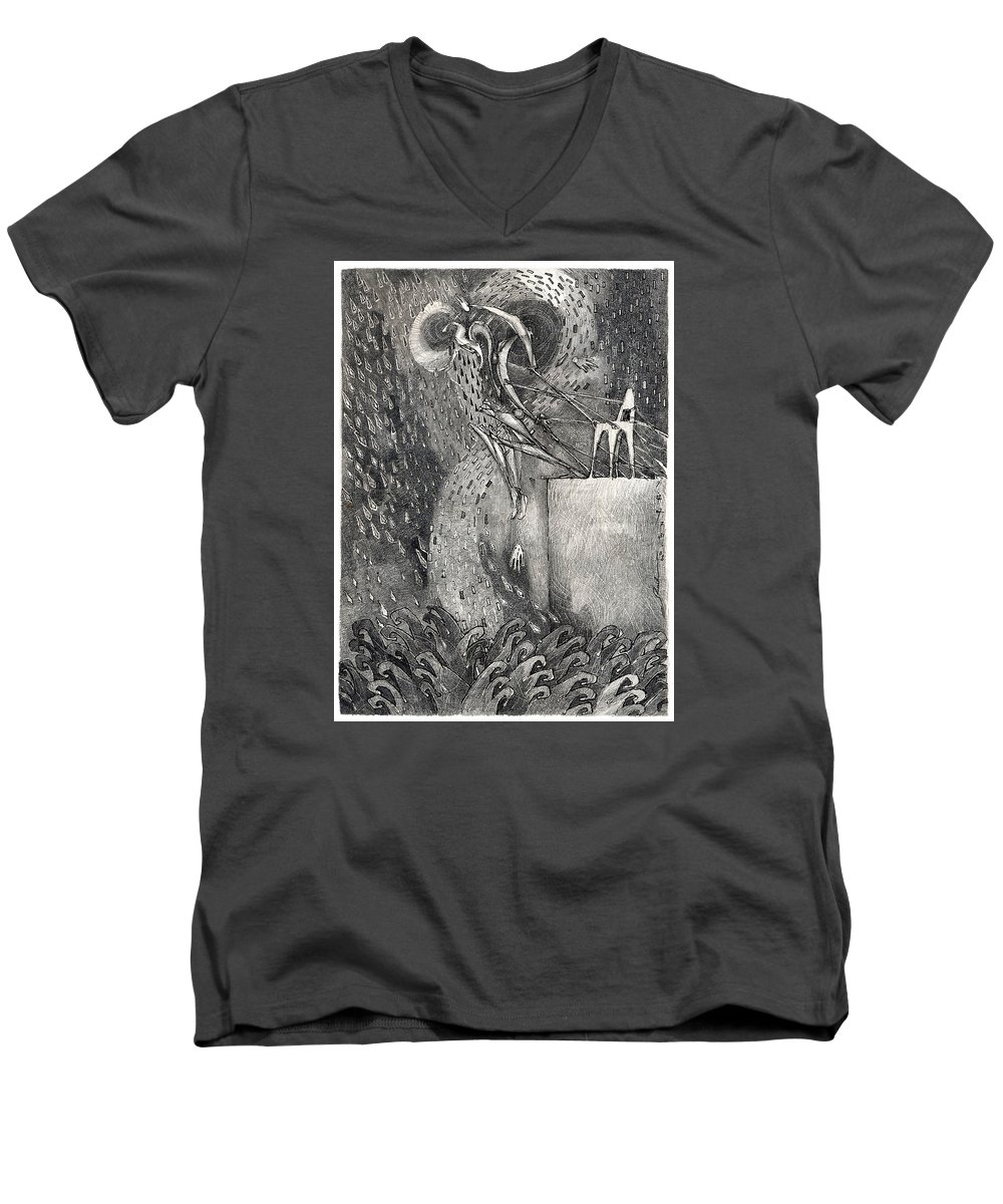 Leap Men's V-Neck T-Shirt featuring the drawing The Leap by Juel Grant