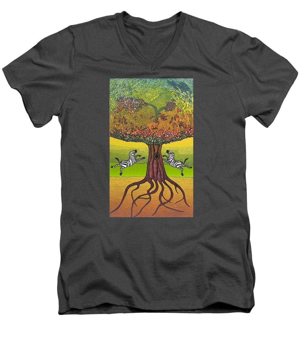 Landscape Men's V-Neck T-Shirt featuring the mixed media The Life-giving Tree. by Jarle Rosseland