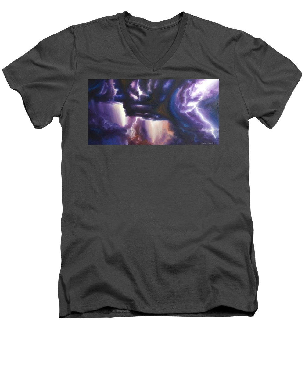 Tempest Men's V-Neck T-Shirt featuring the painting The Lightning by James Christopher Hill