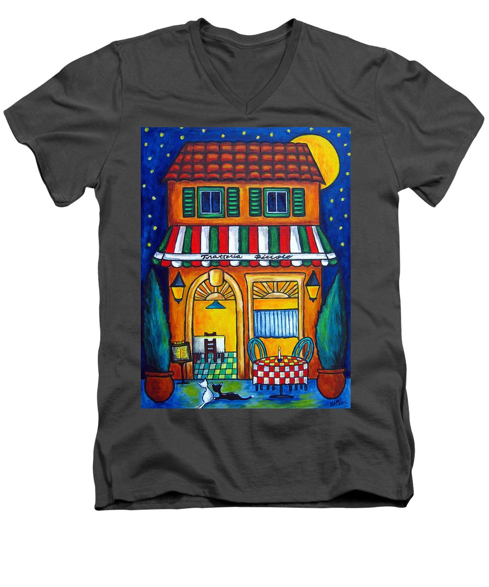 Blue Men's V-Neck T-Shirt featuring the painting The Little Trattoria by Lisa Lorenz