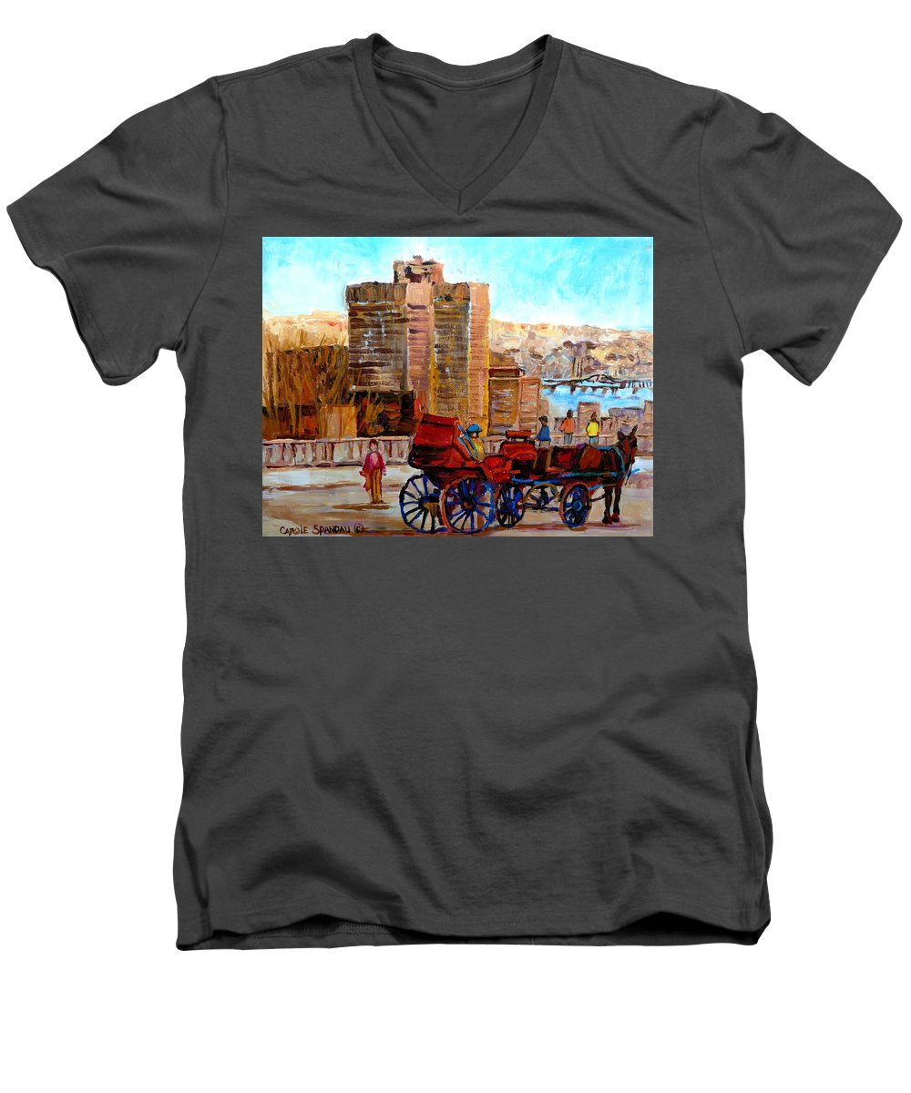 Montreal Street Scene Men's V-Neck T-Shirt featuring the painting The Lookout On Mount Royal Montreal by Carole Spandau