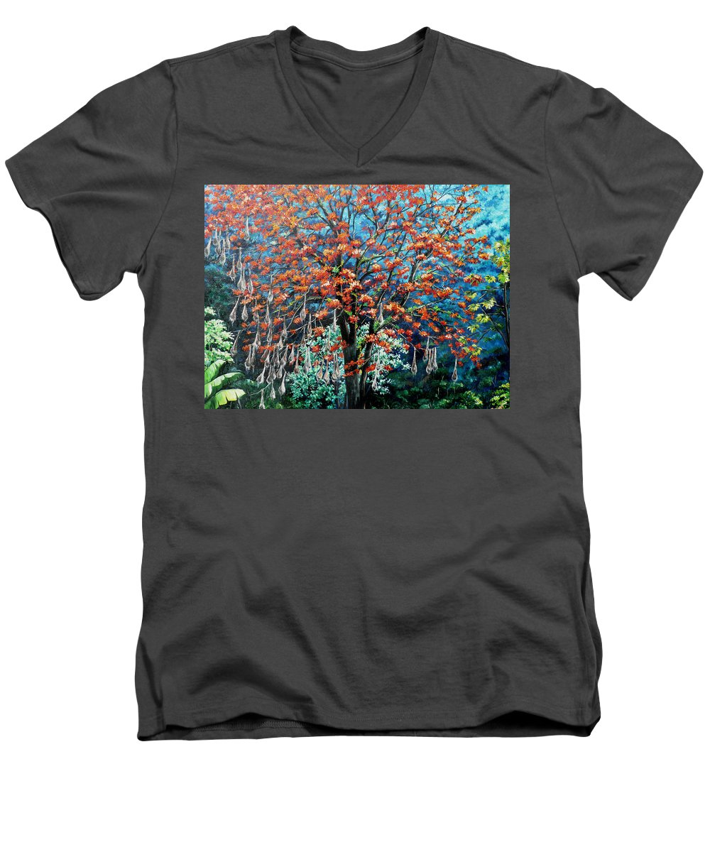 Tree Painting Mountain Painting Floral Painting Caribbean Painting Original Painting Of Immortelle Tree Painting  With Nesting Corn Oropendula Birds Painting In Northern Mountains Of Trinidad And Tobago Painting Men's V-Neck T-Shirt featuring the painting The Mighty Immortelle by Karin Dawn Kelshall- Best