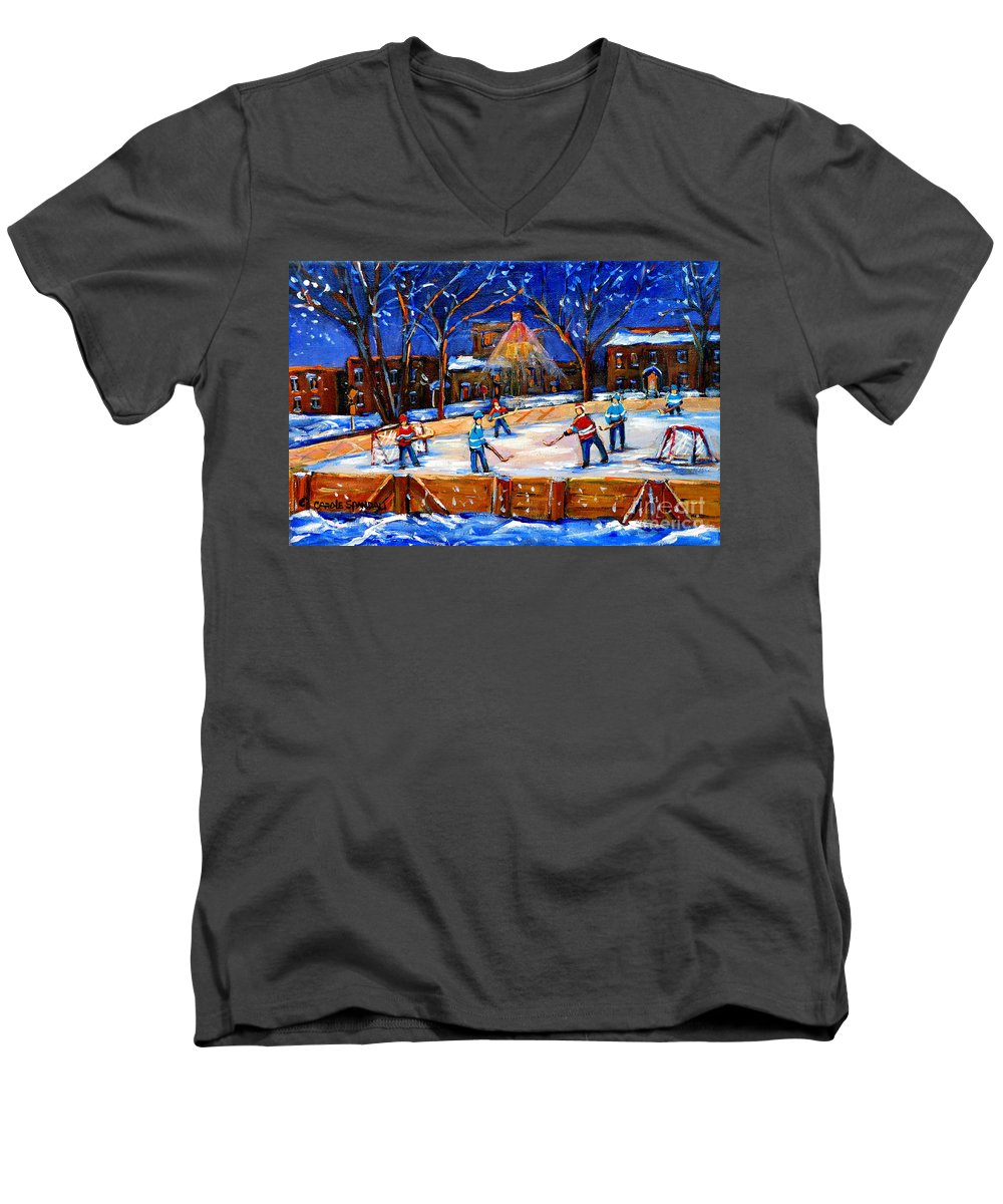 Montreal Men's V-Neck T-Shirt featuring the painting The Neighborhood Hockey Rink by Carole Spandau