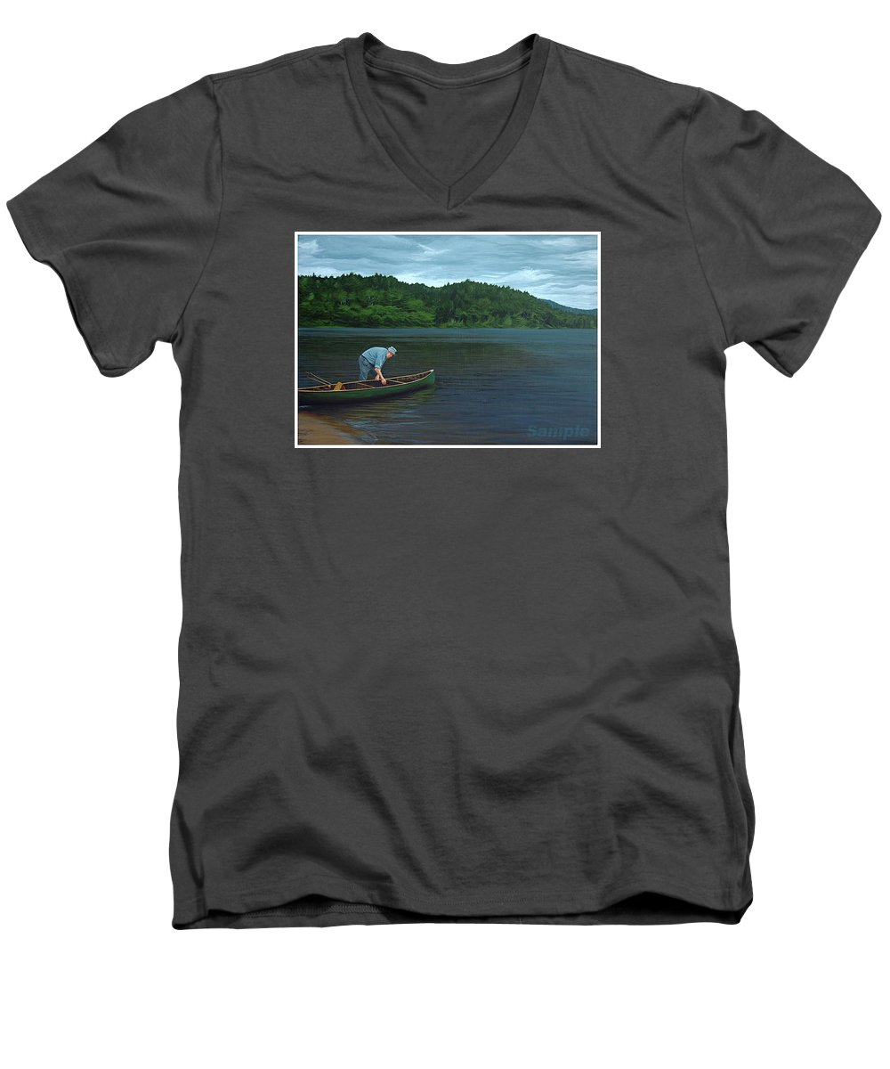 Landscape Men's V-Neck T-Shirt featuring the painting The Old Green Canoe by Jan Lyons