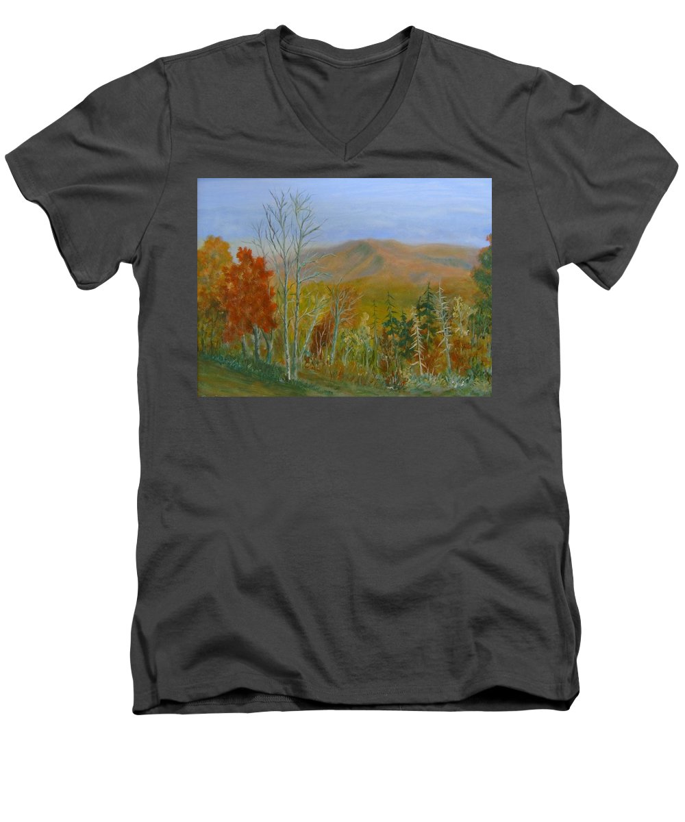 Mountains; Trees; Fall Colors Men's V-Neck T-Shirt featuring the painting The Parkway View by Ben Kiger