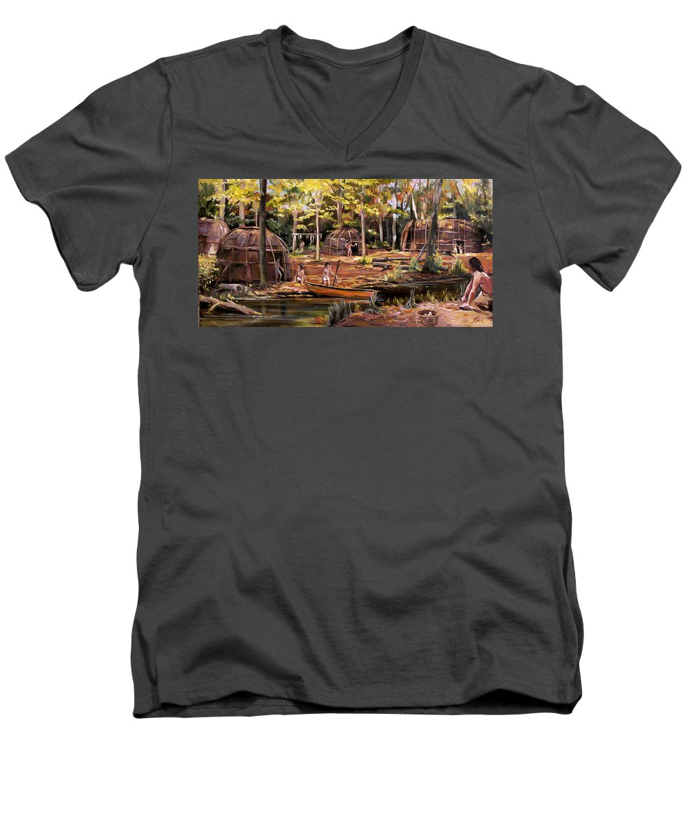 Institute Of American Indian Men's V-Neck T-Shirt featuring the painting The Pequots by Nancy Griswold